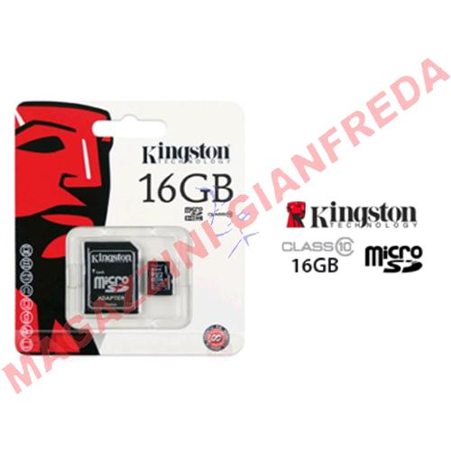 MEMORY CARD MICRO SD SDC10/16GB + ADATTATORE KINGSTON CLASSE 10